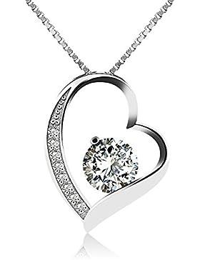 [Gesponsert]J.Vénus Damen Schmuck, Halskette Silber mit Herz Anhänger 925 Sterling Silber Zirkonia 45cm / Kette, Schmuck mit...