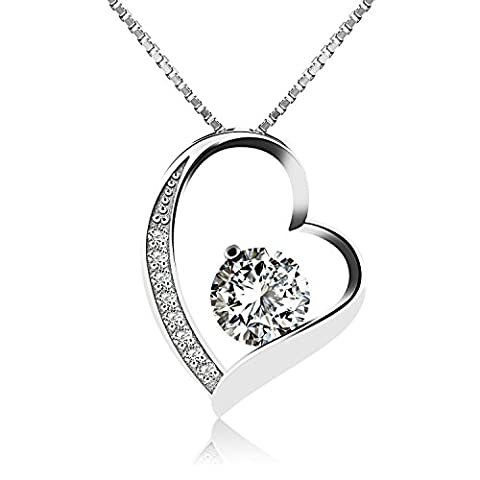J. Vénus Sterling Silver Love Heart Pendant Necklace for Women, 18'', Ideal Gift on Valentine's Day, Birthday