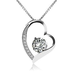 J.Vénus Damen Schmuck, Halskette Silber mit Herz Anhänger 925 Sterling Silber Zirkonia 45cm / Kette, Schmuck mit Etui (ewige Liebe – weiß)