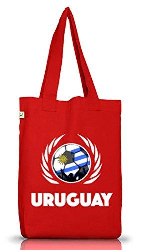 Wappen Fussball WM Fanfest Gruppen Jutebeutel Stoffbeutel Earth Positive Fußball Uruguay Red