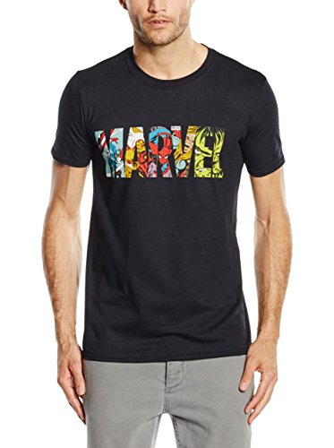 MARVEL Comic Strip Logo T-Shirt, Camiseta para Hombre, Negro (Black), Large