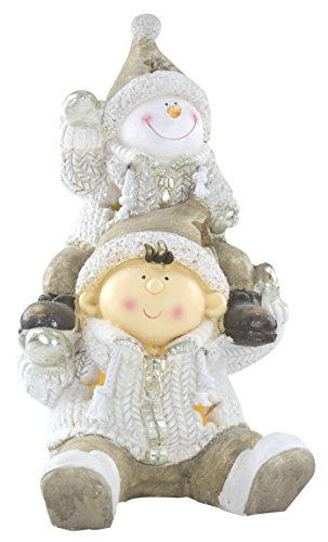 Deko Figur mit Beleuchtung (C) Junge und Schneemann