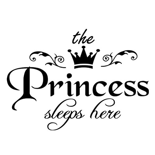VORCOOL Prinzessin Schläft Hier Wandaufkleber Abnehmbare Peel und Stick Art Wall Decal für Home Schlafzimmer Dekoration Mädchen Dekor 45x25cm -