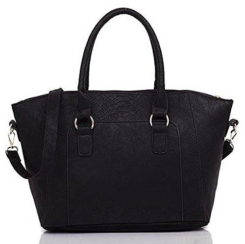 Kukubird Style Contemporain En Faux Cuir Classique Fourre-tout Sac À Main Sac Àbandoulière Black