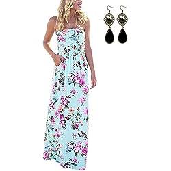 MODETREND Mujeres Vestidos Verano Largo de Envuelto Pecho con Florales Impresa Vestido Coctel Fiesta Noche y Playa Vacation
