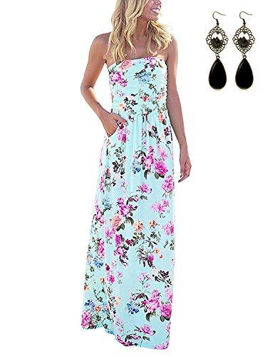 Modetrend donna vestiti floreale casuale abito senza spalline lungo abiti vestito da matrimonio banchetto sera