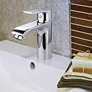 Amzdeal Grifos de lavabo, Griferia para baño con suave aireador, Grifo monomando de lavabo con cartucho de cerámica…