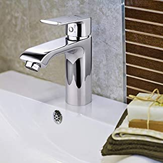 Amzdeal Grifos de lavabo, Griferia para baño con suave aireador, Grifo monomando de lavabo con cartucho de cerámica, Cromados Grifos de baño en latón y en color plateado