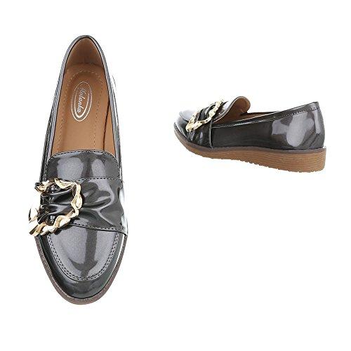 Ital-Design Scarpe da Donna Mocassini Piatto Slipper grigio W-3-1