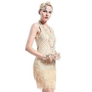 BABEYOND Damen Retro 1920er Stil Flapper Kleider mit Zwei Schichten Troddel V Ausschnitt Great Gatsby Motto Party Kostüm Kleider- Gr. XS, Beige