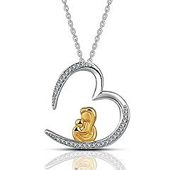 Idea Regalo - EUDORA Argento sterling S925 Placcato oro Mamma tengono il bambino nel cuore Collana pendente d'amore,18