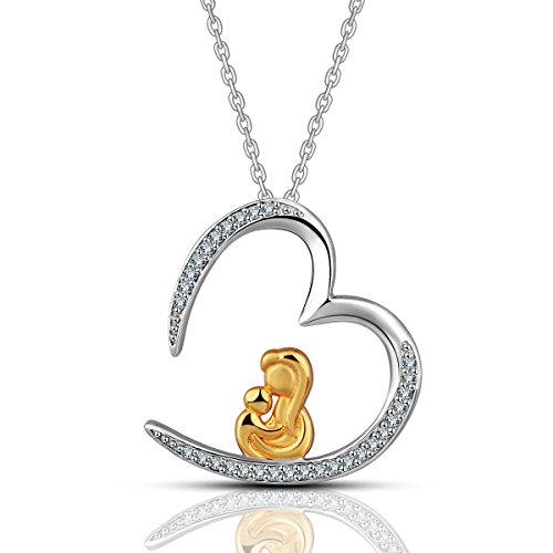 Euodra S925 Sterling Silber Vergoldet Mama Hält Baby in der Herz Anhänger Halsketten für Frauen Schmuck Mutter Tochter Schmuck Geschenk zum Muttertag Kristall Kette, 18
