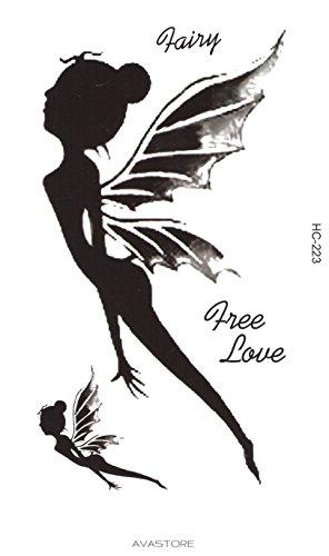 Tatuaggio temporaneo fata free love-tatuaggio effimera fata free love- blister di 2tatuaggi-avastore