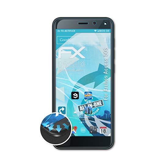 atFolix Schutzfolie passend für Archos Access 50S Folie, ultraklare & Flexible FX Bildschirmschutzfolie (3X)