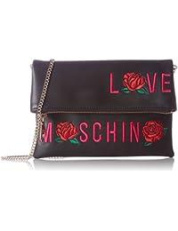 Love Moschino - Borsa Calf Pu Nero, Shoppers y bolsos de hombro Mujer, Schwarz (Black), 18x24x1 cm (W x H D)