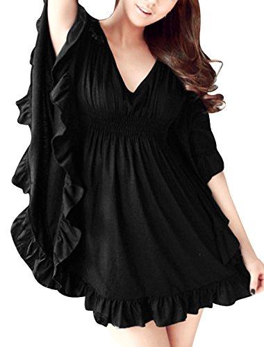 allegra-k-women-butterfly-sleeves-elastic-waist-oversize-mini-dress-l-black