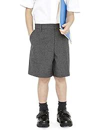 EX M&S Boys Smart School Uniform Long Shorts Trousers Age 2-12 Years Grey Adjustable Waist