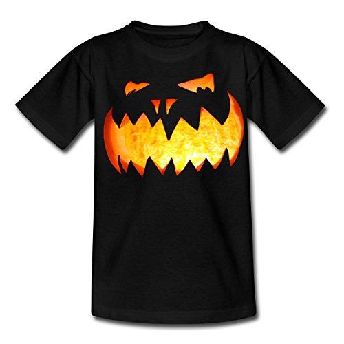 Spreadshirt Halloween Kürbiskopf Leuchtender Kürbis Teenager T-Shirt, 152/164 (12-14 Jahre), ()