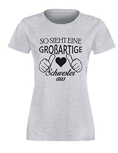 So sieht eine großartige Schwester aus - Damen Rundhals T-Shirt Grau/Schwarz