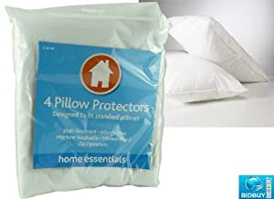 Brand New - Pack of 4 Pillow Protectors - Mildew Proof - Non Allergic - White Anti dust - Stain Resistant - Machine Washable - Standard Size