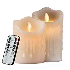 Vela sin llama LED velas cera con llama temporizador con mando a distancia eléctrica batería Alimentado por Vela Lámpara Dormitorio Salón decoración para boda, cumpleaños, hichili Bar/Boda Decoración/Navidad Decoración 7.5x 10cm Luz Blanca Cálida