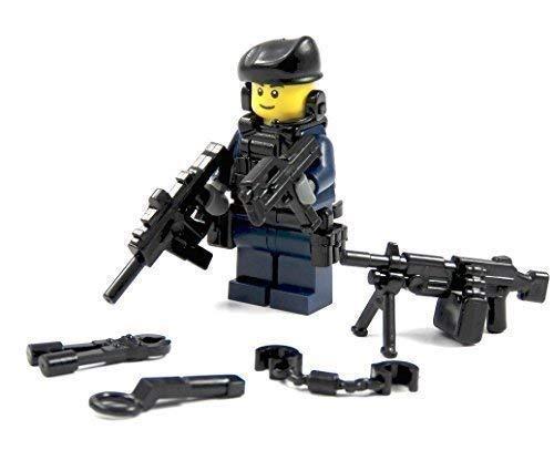 CustomFigur Polizist SWAT aus Lego® und Custom Teilen mit Cap und Waffe