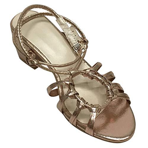 MakefortuneDamen Schnürsandalen Low Mid Block Heel Damen Leder Riemchen Caged Schuhe Größe 4-8 Caged High Heel