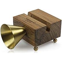 Ecophonic - Altavoz ecológico, modelo RETRO Universal, fabricado en madera de mongoy y latón, compatible con la mayoría de smartphones