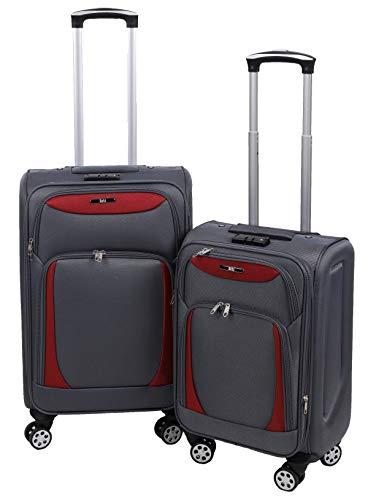 Betz 2 TLG. Reisekoffer Trolly Set einen Reisekoffer einen Handgepäck Stoffkoffer Rollkoffer Teleskop Boardcase mit TSA Schloss und Leichtlaufrollen Farbe...