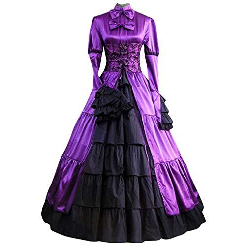 Damen Mittelalter Kleid Gothic Mittelalterliche Kleider mit Trompetenärmel Party Kostüm Maxikleid Viktorianisches Prinzessin Lange Partykleid (L/EU:38, Lila)