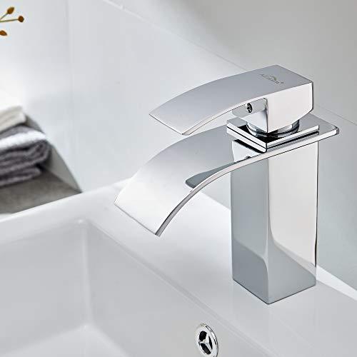 Auralum® Design Einhebel Wasserhahn Armatur Waschtischarmatur Wasserfall Einhandmischer für Badezimmer Waschbecken - 5