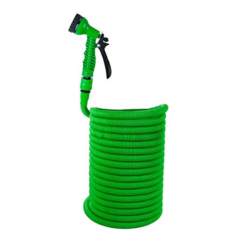 Grafner® Premium-Starter Flexibler Gartenschlauch   30 Meter   Ultra-Robustes Mesh-Gewebe   30 Meter   KEIN PLATZEN!   8-Fach Brause   grün   Dehnbarer Wasserschlauch Schlauch