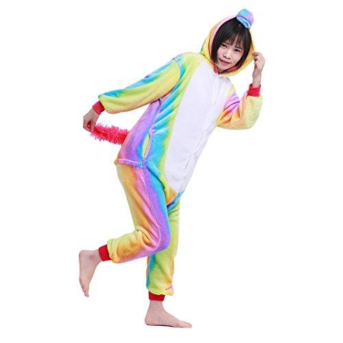 Freebily Kinder Unisex Jumpsuits Pyjama Schlafanzug Pyjamas Einhorn Tier kostüme Kigurumi Tierkomstüme für Halloween Karneval Fasching Weihnachten Bunt 140-152 / 10-12 - - Kinder-haut-anzug-kostüm