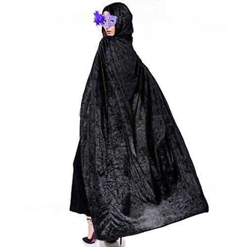 Ourlove Kostüm für Halloween/Weihnachten/Cosplay, Motiv Vampir/Hexe, viktorianischer Stil, langer Samtumhang mit Kapuze, unisex, schwarz, (Stil Kostüme Halloween Viktorianischen)