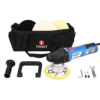 FIXKIT 9mm-900W Exzenter Poliermaschine mit 6 variablen Geschwindigkeit inkl. Polierschwamm und Tasche für Auto, KFZ, Boot (DP502)