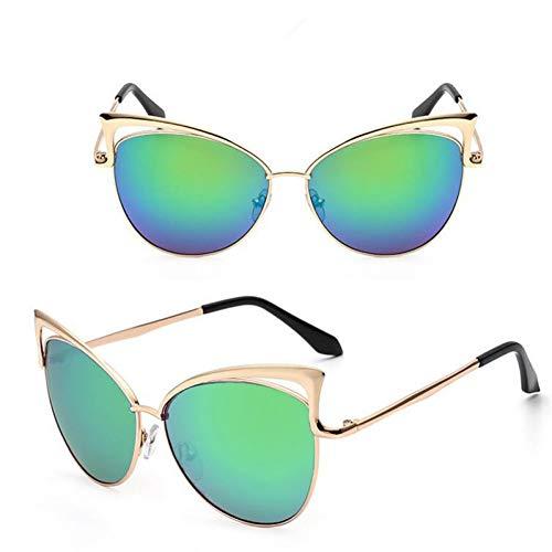 GJYANJING Sonnenbrille Klassische Metallrahmen Damen Cat Eye Gradient Sonnenbrille Vintage Frauen Cateye Spiegel Objektiv Beschichtung Uv400