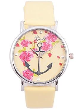 Yaki Blumen Uhr Damen Armbanduhr Vintage Quarzuhr Anker mit Gelb Leder Armband
