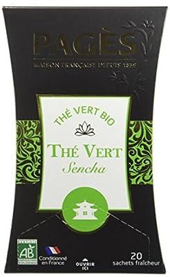 PAGÈS Thé Vert Sencha Bio 20 Sachets - Lot de 4