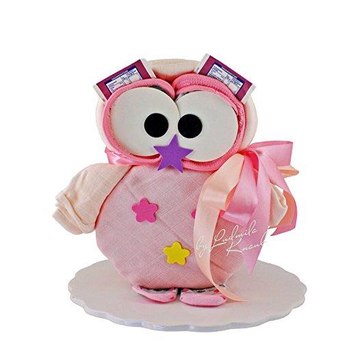 Windeltorte - Windeleule / Pamperstorte > Babygeschenk für Mädchen in schönem Rosaton // Geschenk zur Geburt, Taufe, Babyparty // originelles und praktisches Geschenk für Babys