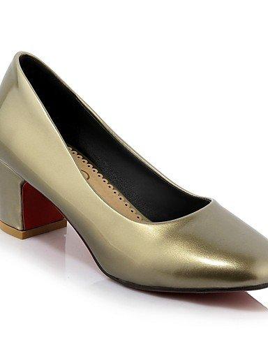 WSS 2016 Chaussures Femme-Bureau & Travail / Décontracté-Rose / Argent / Kaki-Gros Talon-Talons / Bout Carré-Chaussures à Talons-Cuir Verni khaki-us6.5-7 / eu37 / uk4.5-5 / cn37