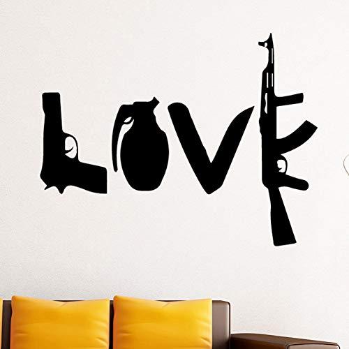 DADADUR Wandaufkleber Wanddekoration Kreative Liebe Waffen Vinyl Wand Aufkleber Für Kinder Klebe Pistole Dolch Maschine Gun Wand Decals Home Decor Zimmer Zubehör