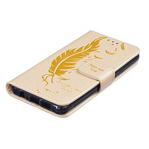 Coque pour Apple iPhone 6 plus/6s Plus 5.5,Housse en cuir pour Apple iPhone 6 plus/6s Plus 5.5,Ecoway Feather motif en relief étui en cuir PU Cuir Flip Magnétique Portefeuille Etui Housse de Protectio d'or