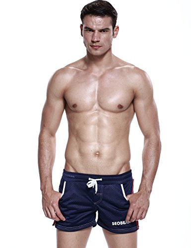 SEOBEAN Herren Low Rise Sport Weiche Running Training Short Pants 2500 Marine