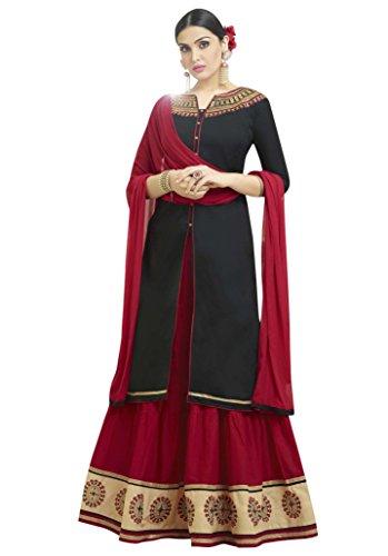 Multi Retail Beautiful Black Emboridered Semi Cotton Semi-Stitched Lehengha Style Salwar Suit...