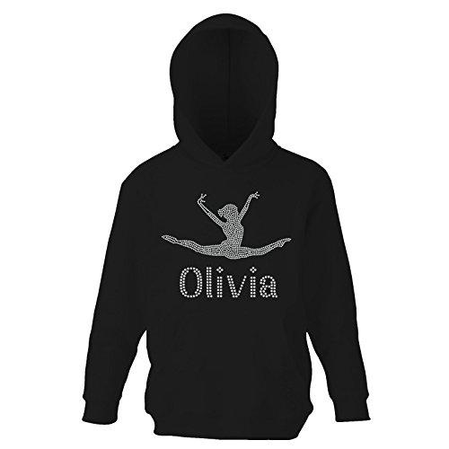 Black 9-11 Girl's Crystallized Personalised Gymnastics Hoodie Dance Leotard Childrens Hoody(K) By Varsany