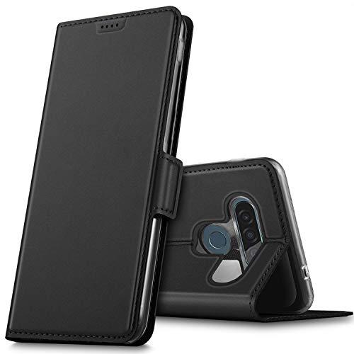 GEEMAI per LG G8S ThinQ Cover, Flip Custodia Carte di Credito da Funzione Stand in PU Premium Protezione di Lunga Durata, per LG G8S ThinQ Smartphone.(Nero)