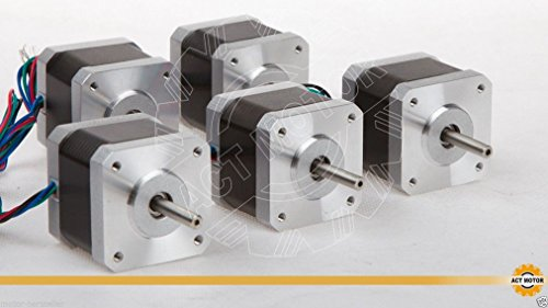 ACT MOTOR GmbH 5PCS 17HS4417 Nema17 Stepper Motor Bipolar 40mm Body 40Ncm Torque 4Wire 300mm Cable 1.7A with 1.8° 2.55V for Robot CNC Schrittmotor 3D Printer