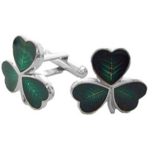 Glen Esk - Herren Manschettenknöpfe aus 100% Messing - schottische, keltische und irische Designs - Grün - Dreiblättriges Kleeblatt