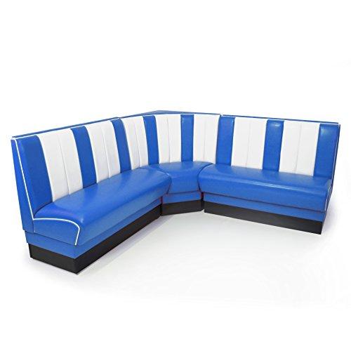American Diner Eckbank blau Set Viber 2x Sitzbank 120cm + Eckbank retro