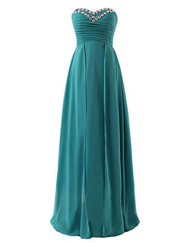 Dresstells Damen A-Linie Lang Chiffon Herz-Ausschnitt Abendkleid Ballkleid Brautjungfernkleid Elfenbein